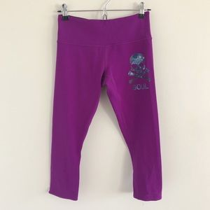 Lululemon x Soulcycle Purple Crop Tight Skull Logo